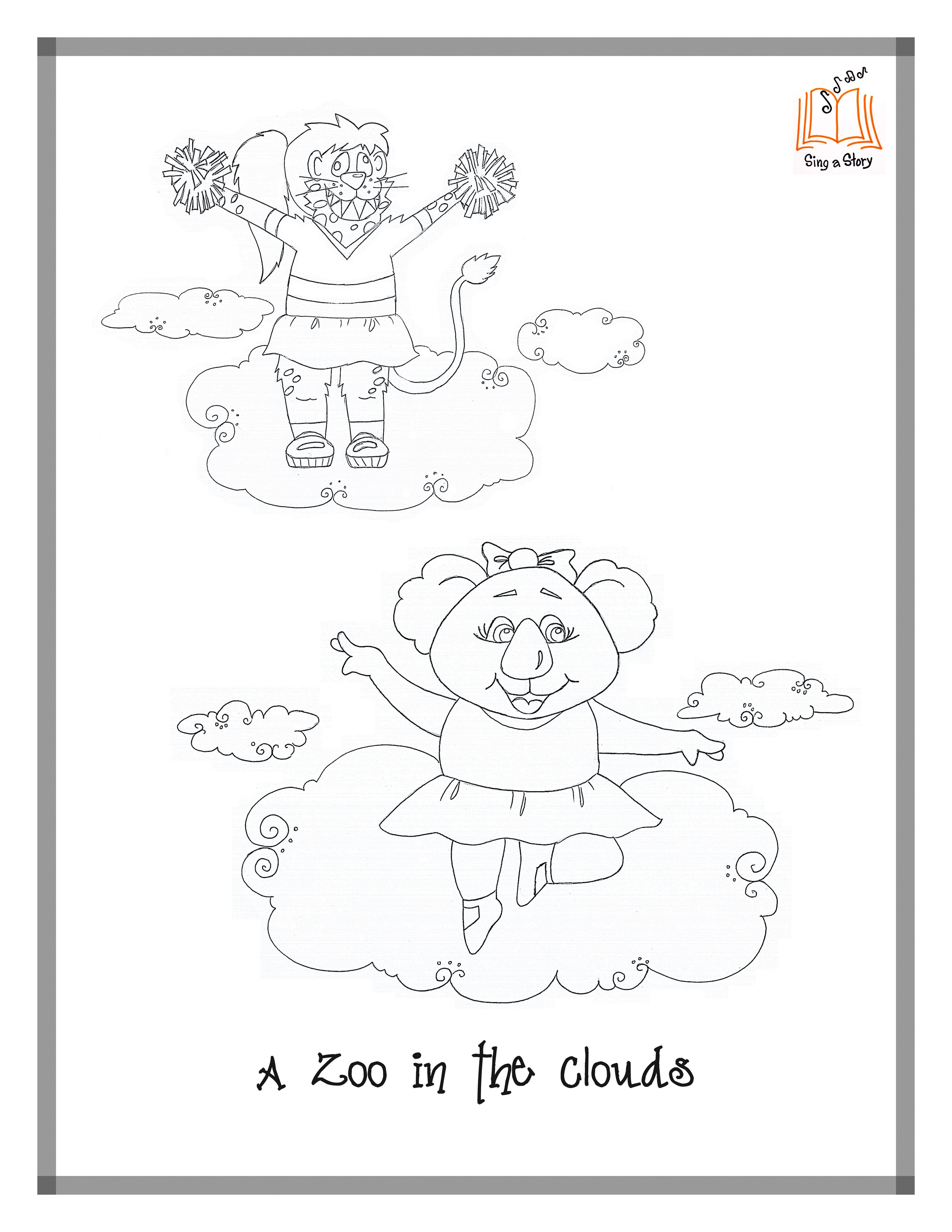A Zoo in the Clouds Coloring Pages Sing A Story