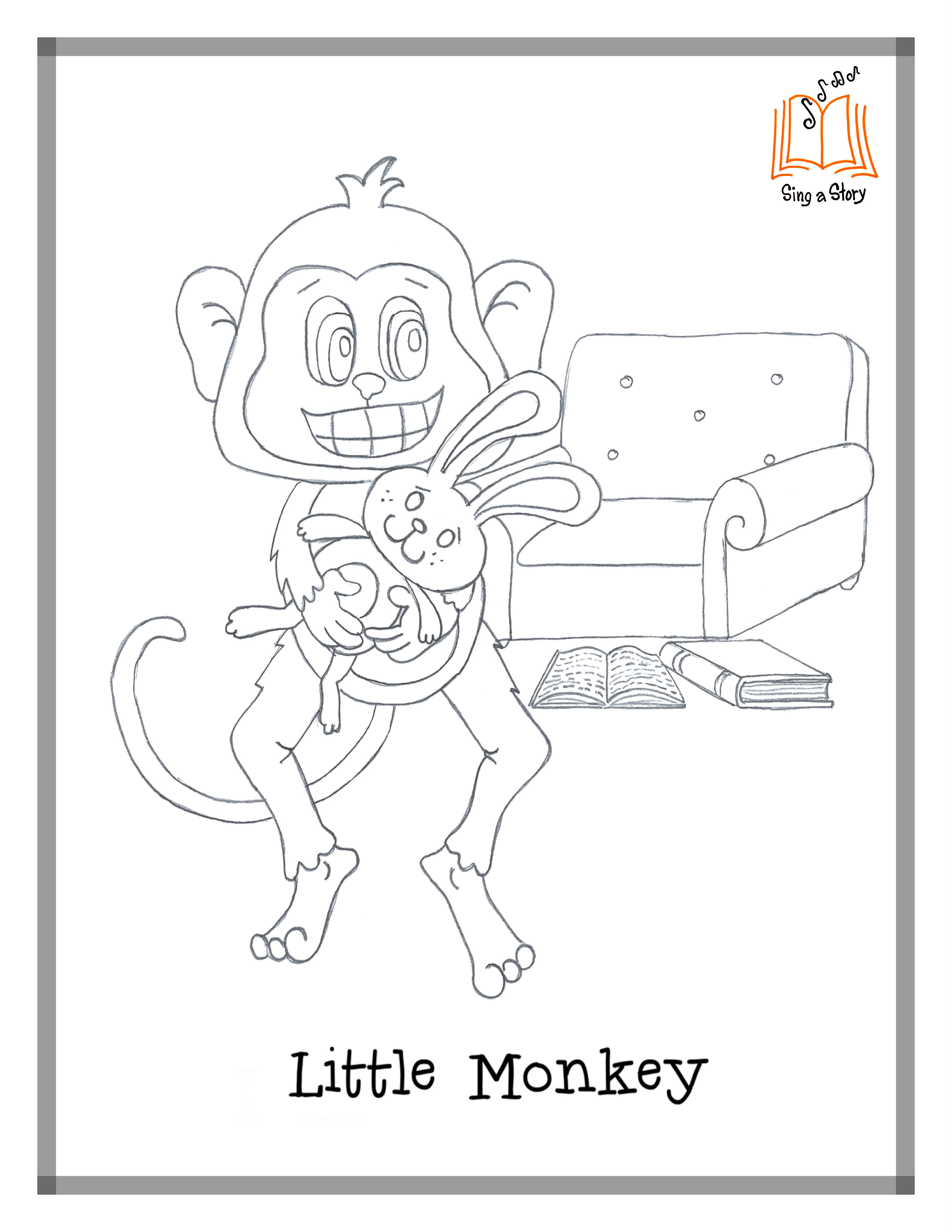 Little Monkey Coloring Pages Sing A Story