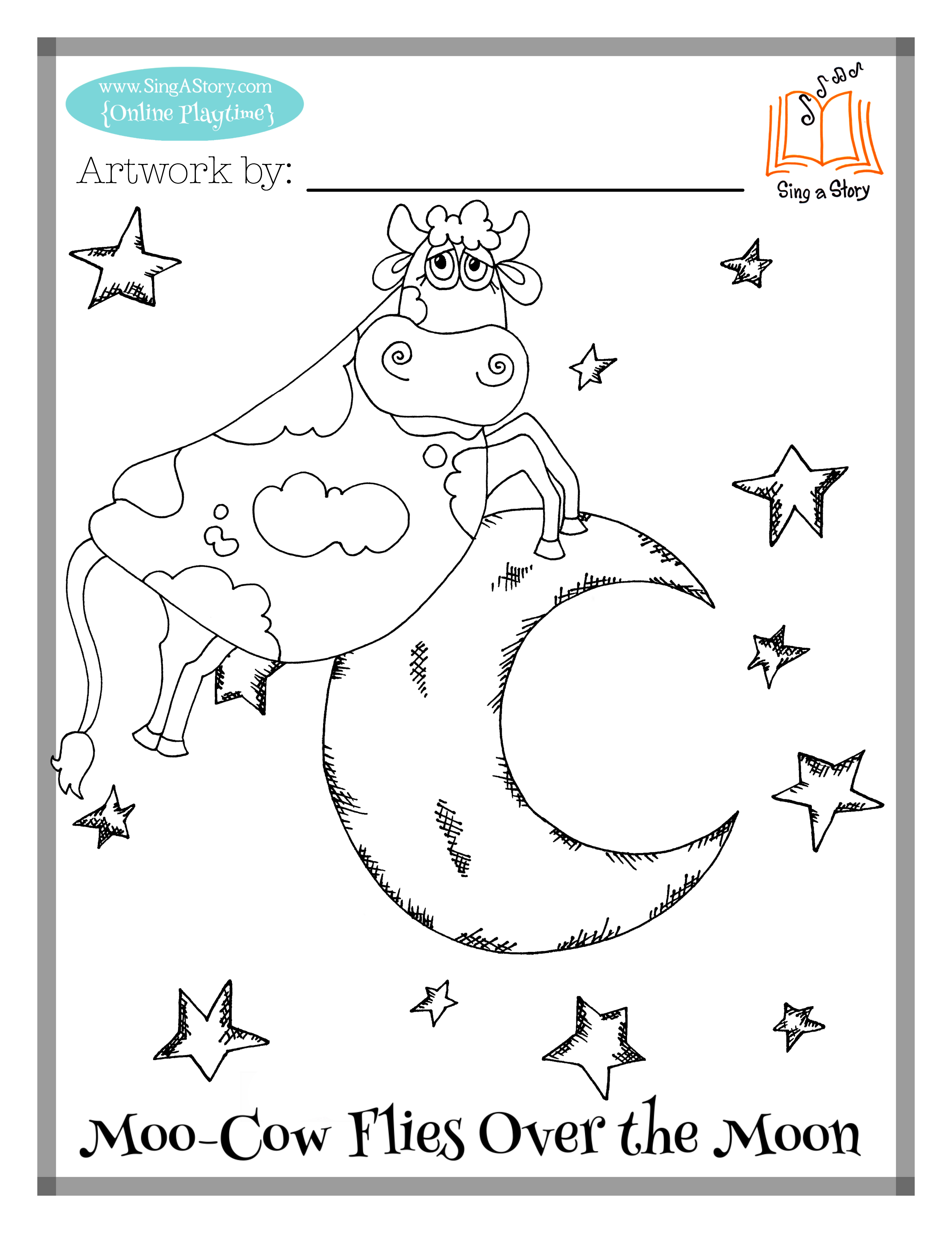 Moo Cow Coloring Pages   Sing A Story